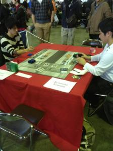 Local player Ryosuke Nomura takes on Kenji Tsumura on day 2