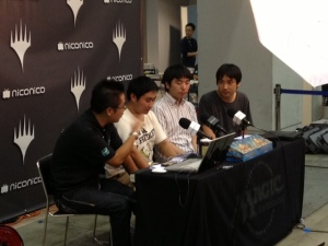 Nomura being interviewed on NicoNico Douga after the semifinals